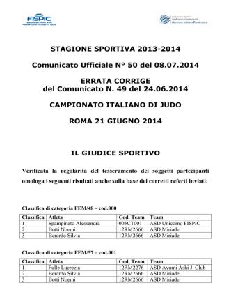 Comunicato Ufficiale n. 50 del 08.07.2014