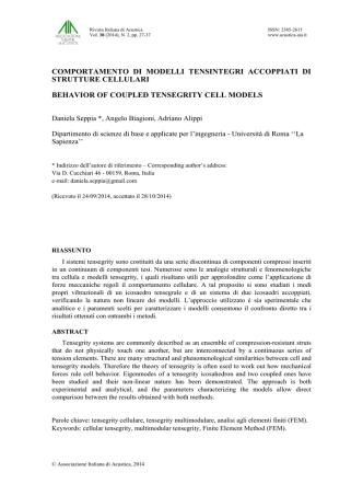 Comportamento di modelli tensintegri accoppiati di strutture cellulari
