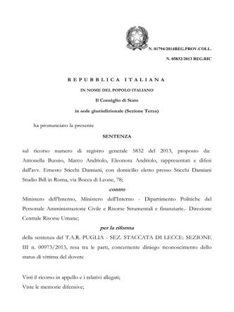 Cons di Stato n 1794 del 11 Aprile 2014 mancato
