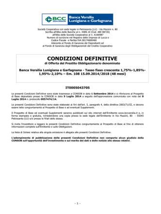 CONDIZIONI DEFINITIVE - Banca Versilia Lunigiana e Garfagnana