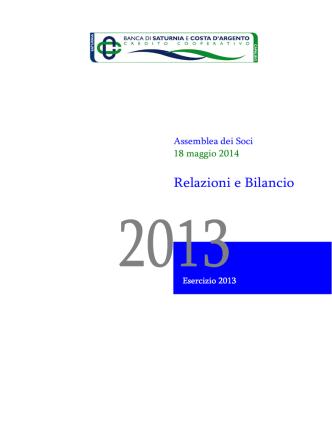 Bilancio 2013 - Banca di Saturnia