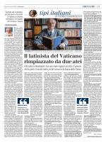 ll latinista del Vaticano rimpiazzato da due atei
