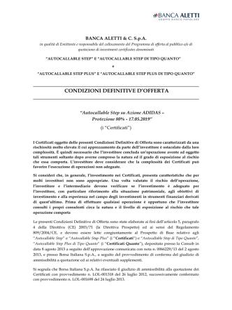 20140423 Autocallable Condizioni definitive di