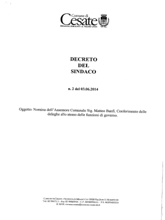 DECRETO NOMINA ASSESSORE MATTEO BANFI