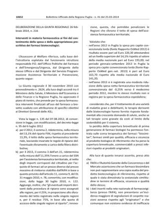 D.G.R. 26 febbraio 2014, n. 216