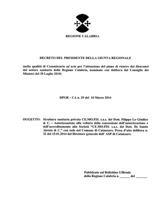 D.P.G.R. n.29 del 10.03.2014 - Struttura sanitaria privata CE.MO.FIS