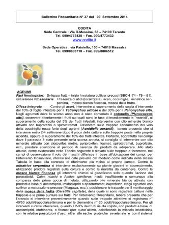 Bollettino fitosanitario emesso il 22 maggio 2002