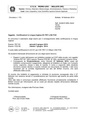 172 circ (Iscrizione esami PET FCE)