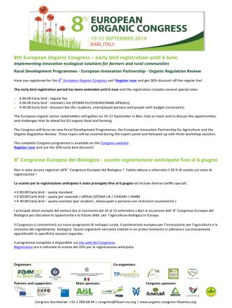 8th European Organic Congress – early bird registration until 6 June