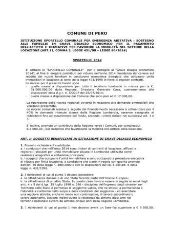 bando pero 2014 - Comune di Pero