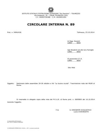 CIRCOLARE INTERNA N. 89