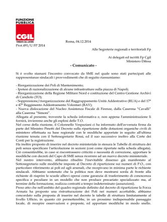 Comunicato incontro SME DEL 4.12.2014