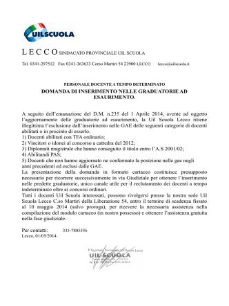 COMUNICAZIONE GAE ESCLUSI - Istituto Comprensivo Lecco 1
