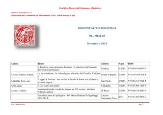 Dal 01/11/2014 AL 30/11/2014 - Pontificia Università Urbaniana