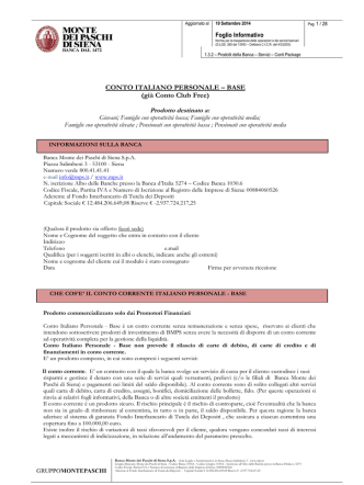 CONTO ITALIANO PERSONALE - Banca Monte dei Paschi di Siena