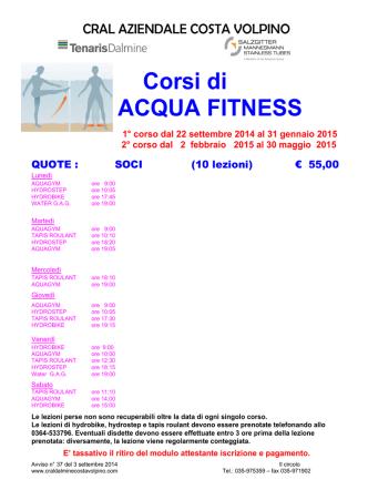 Corsi di ACQUA FITNESS - Cral Dalmine (Costa Volpino)