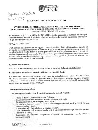 Bando Oculista - Università degli Studi della Tuscia