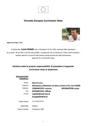 Curriculum Gelati Luca agg.Giugno 2014