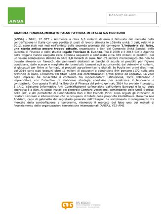Ansa, 17 ottobre 2014 Guardia finanza, mercato falso fattura in Italia