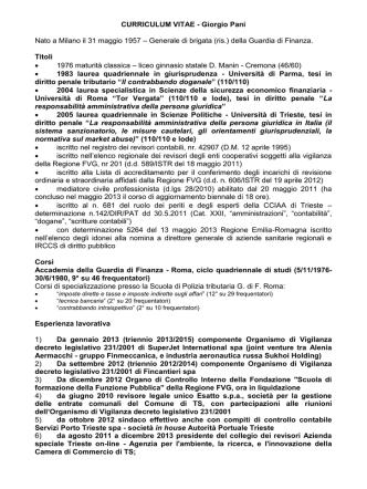 curriculum vitae del soggetto - Regione Autonoma Friuli Venezia
