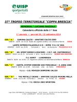 Calendario ufficiale della Coppa Brescia 2014/2015