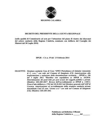 D.P.G.R. n.19 del 13.02.2014-Autorizzazione ed