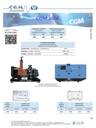 CGM 160F - CGM Gruppi Elettrogeni