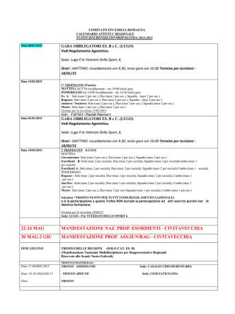 22-24 mag manifestazione naz. prop. esordienti