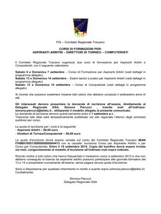 BANDO CORSI GSA - SETTEMBRE 2014