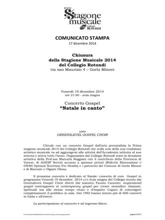 COMUNICATO STAMPA - Chiesa di Milano