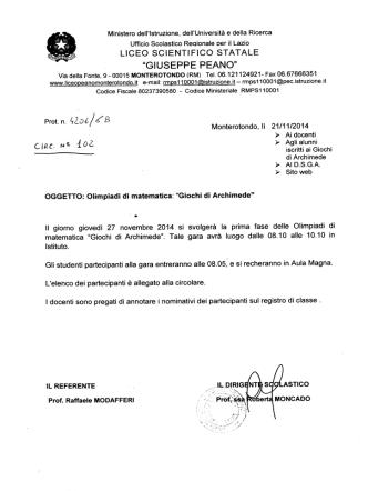 27 Novembre 2014 - Liceo Scientifico