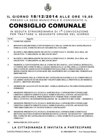 CONSIGLIO COMUNALE - Comune di Castelfranco Emilia