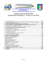 Comunicato Ufficiale N° 15 del 16/10/2014