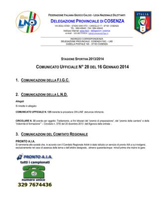 Comunicato Ufficiale n°28 del 16 Gennaio 2014
