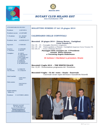 Bollettino nr. 37 - Rotary Club Milano Est