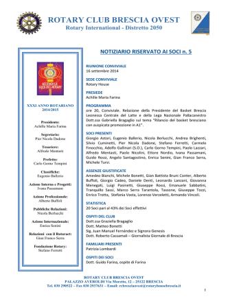 Bollettino n. 5 Farina - Rotary Club Brescia Moretto