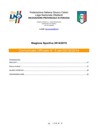 Comunicato Ufficiale N° 5 del 02/10/2014
