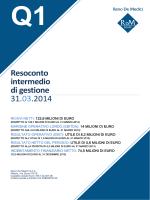 Resoconto intermedio di gestione 31.03.2014
