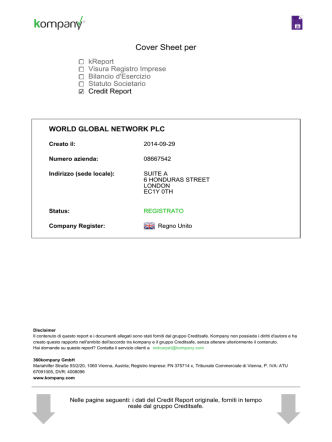 Cover Sheet per - GLOBAL WORLD NETWORK