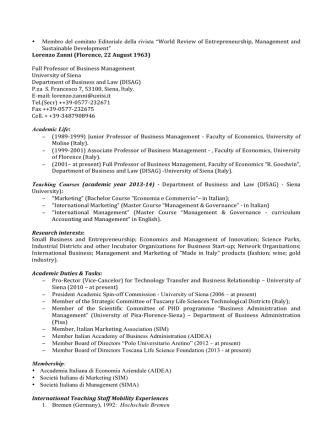 Curriculum Vitae inglese - Dipartimento di Studi aziendali e giuridici
