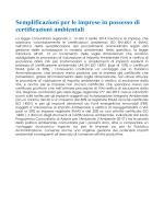 Semplificazioni per le imprese in possesso di certificazioni ambientali