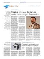 Startup Ict, asse Italia-Usa carta vincente per la crescita