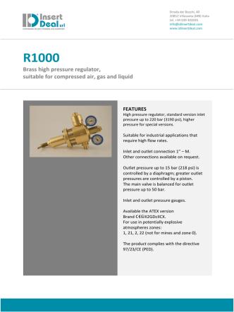 Brass high pressure regulator, suitable for