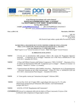 Bando selezione Ente Certificatore di lingua Inglese DD1 CAVOUR