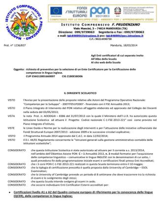 Certificazioni livello A1 e A2 del Quadro comune