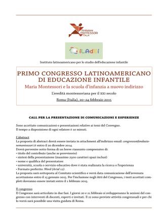 Call Convegno Montessori