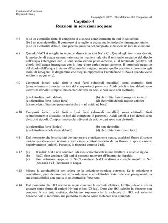 Capitolo 4 - Reazioni in soluzioni acquose