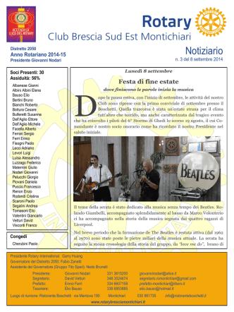 Bollettino n. 3 --- 8 settembre 2014