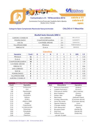 Comunicato CSI Open n. 08 - 18 Novembre 2014