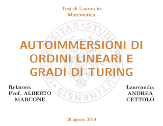 Autoimmersioni di ordini lineari e gradi di Turing - SELP